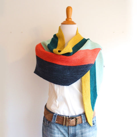 Easy Multi-Coloured Garter Scarfy-Wrap Project
