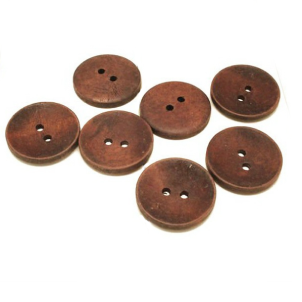 Buttons: Wood Round 2 Holes Dark Brown 15mm & 17.5mm