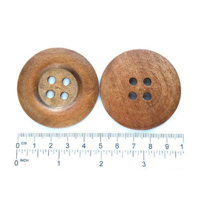 Buttons: Wood Round 4 Holes 50mm