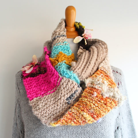 Handspun Art Yarn Cowl Project