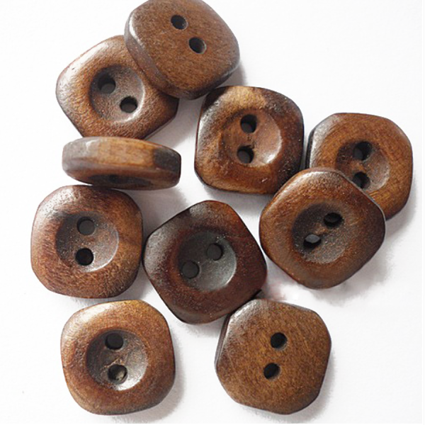 Buttons: Wood Square 2 Holes Dark Brown 15mm