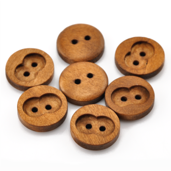 Buttons: Wood Round with Cutout 2 Holes Coffee 15mm