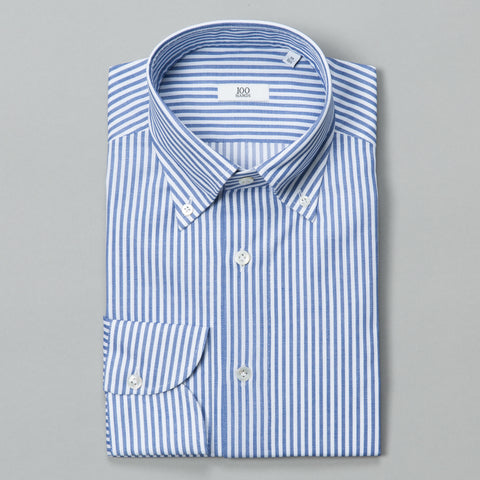 BLACK LINE COTTON BUTTON DOWN BLUE STRIPE