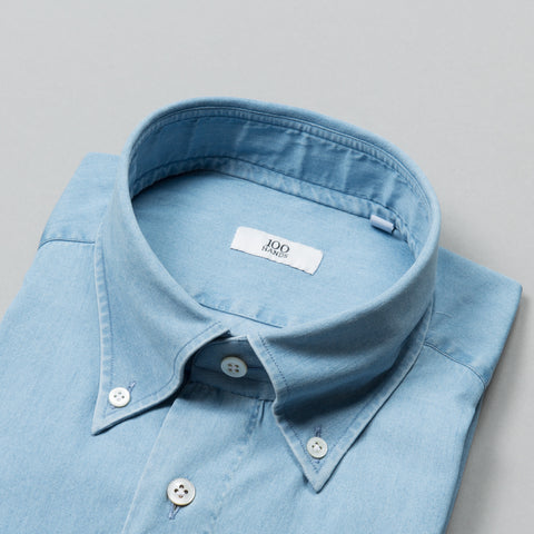 BLACK LINE DENIM BUTTON DOWN LIGHT BLUE