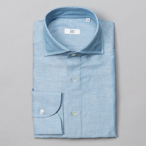 BLACK LINE LINEN DENIM SPREAD COLLAR BLUE