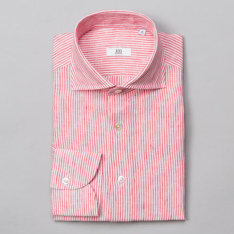 BLACK LINE LINEN SPREAD COLLAR RED STRIPE