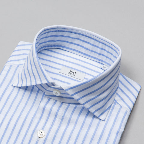 BLACK LINE LINEN/COTTON SPREAD COLLAR BLUE STRIPE