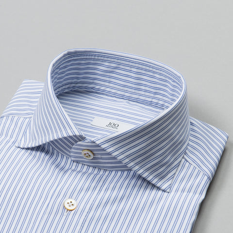 BLACK LINE POPLIN SPREAD COLLAR BLUE DOUBLE STRIPE