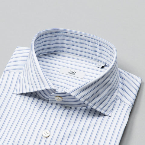 BLACK LINE TWILL SPREAD COLLAR BLUE BROKEN STRIPE