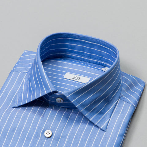 BLACK LINE TWILL SPREAD COLLAR BLUE REVERSE STRIPE