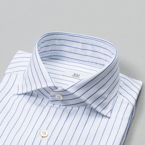 BLACK LINE TWILL SPREAD COLLAR BLUE ROPE STRIPE