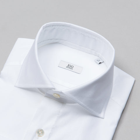 BLACK LINE TWILL SPREAD COLLAR WHITE