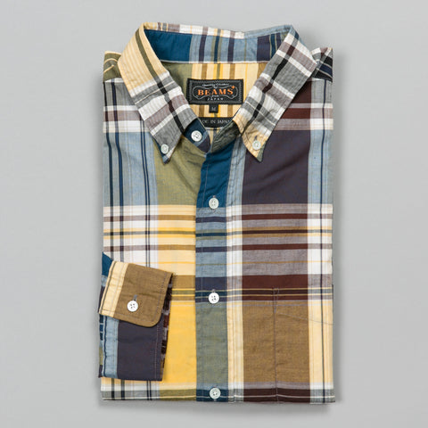 BROAD BIG CHECK BUTTON DOWN NAVY
