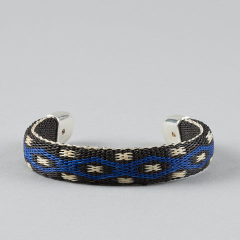 BENDABLE HORSE HAIR BRACELET BLACK/BLUE/WHITE
