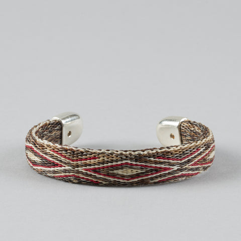 BENDABLE HORSE HAIR BRACELET TAN/RED/WHITE