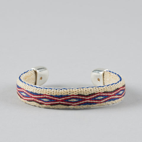 BENDABLE HORSE HAIR BRACELET WHITE/RED/BLUE