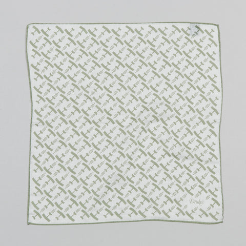 PLANE PRINT COTTON/SILK POCKET SQUARE WHITE/OLIVE