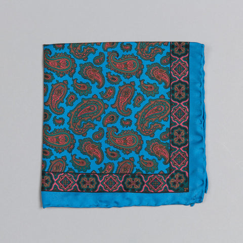 PRINTED SILK CLASSIC PAISLEY POCKET SQUARE BLUE