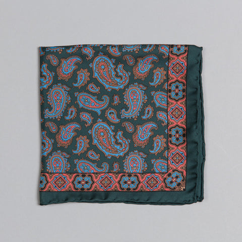 PRINTED SILK CLASSIC PAISLEY POCKET SQUARE GREEN