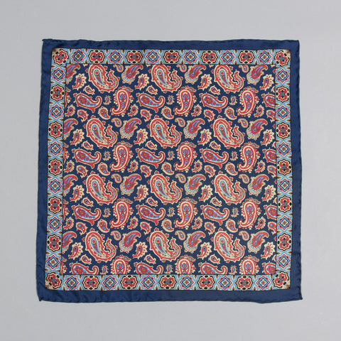 PRINTED SILK CLASSIC PAISLEY POCKET SQUARE NAVY