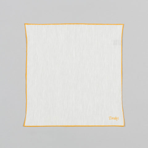 SHOESTRING LINEN/CASHMERE POCKET SQUARE ECRU/GOLD