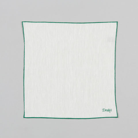 SHOESTRING LINEN/CASHMERE POCKET SQUARE ECRU/GREEN