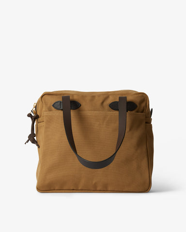 TOTE BAG WITH ZIPPER TAN