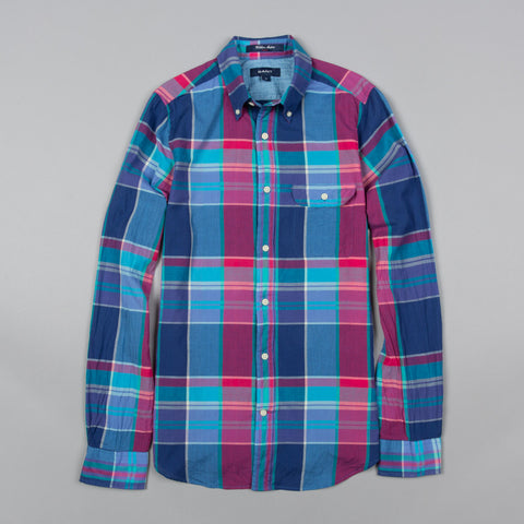WILSHIRE MADRAS CHECK FITTED BUTTON DOWN VINTAGE BLUE
