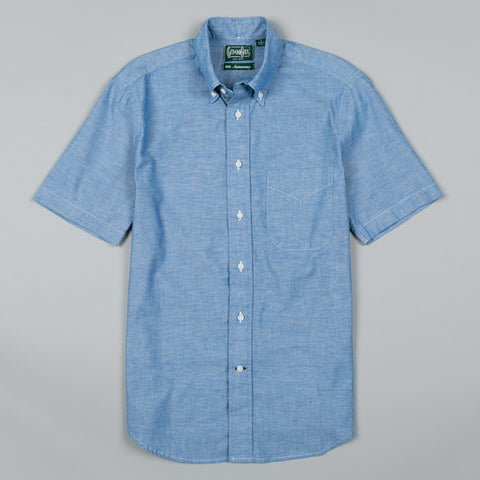 CLASSIC CHAMBRAY SHORT SLEEVE BUTTON DOWN BLUE