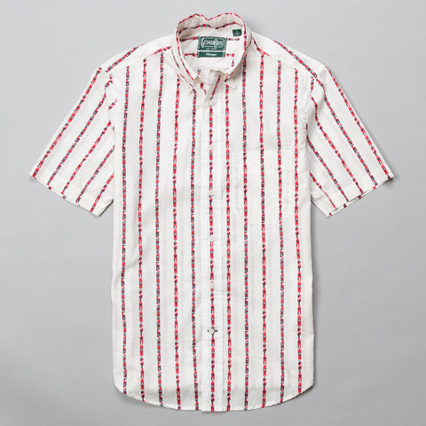 MARITIME MESSAGING SHORT SLEEVE BUTTON DOWN WHITE
