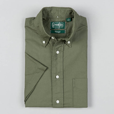 OVERDYE OXFORD SHORT SLEEVE BUTTON DOWN OLIVE