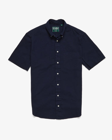 OVERDYE SEERSUCKER SHORT SLEEVE BUTTON DOWN NAVY