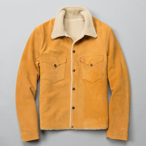 SUEDE SHERPA TRUCKER JACKET GOLDEN NUGGET