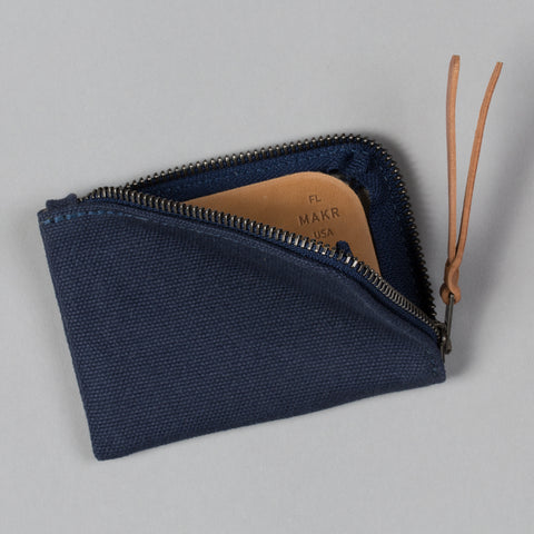 CANVAS ZIP SLIM WALLET NAVY