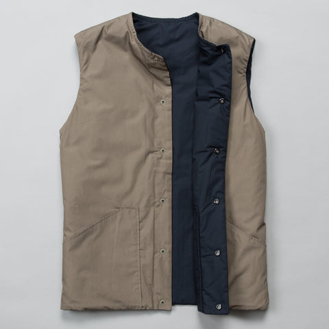REVERSIBLE COTTON SHELL VEST GRIEGE/NAVY