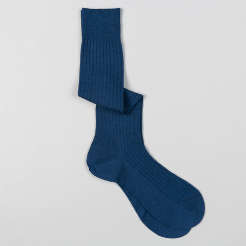 LABURNUM MERINO WOOL DRESS SOCKS DARK BLUE