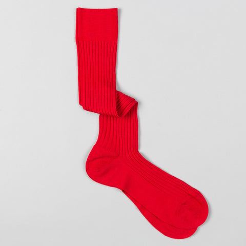LABURNUM MERINO WOOL DRESS SOCKS INDIES RED