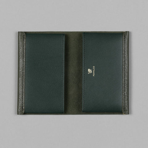 GEOLOGY LEATHER CARD HOLDER MOSS GREEN