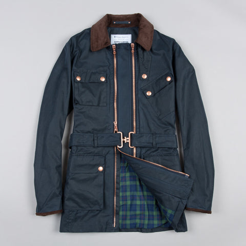 TWIN TRACK WAXED COTTON JACKET NAVY