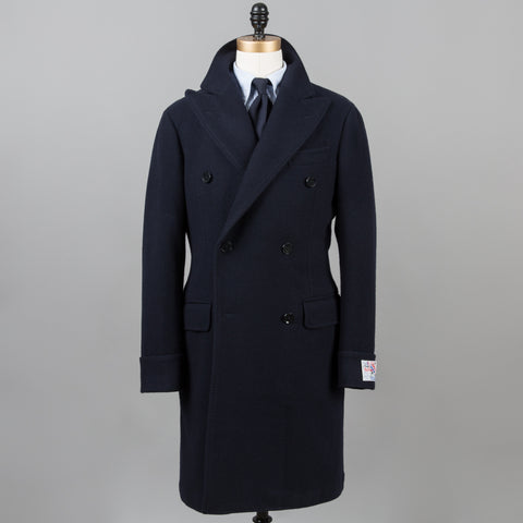 BALLOON WOOL POLO COAT NAVY