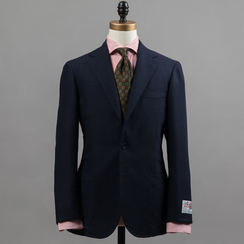 BALLOON WOOL SPORT COAT NAVY PRINCE OF WALES CHECK