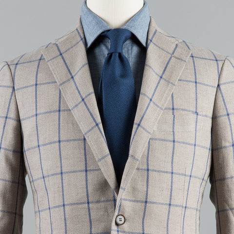 BOTTOLI LINEN/COTTON/SILK 184 SPORT COAT BEIGE WINDOWPANE