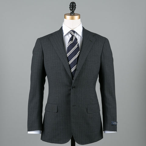 CALM TWIST WOOL SUIT GREY STRIPE