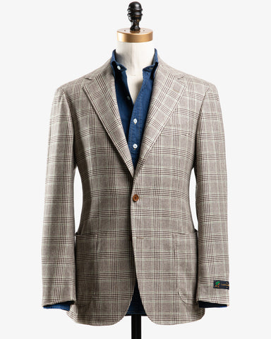 DI PRAY SILK SPORT COAT BEIGE PRINCE OF WALES CHECK