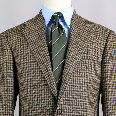 E. THOMAS WOOL/CASHMERE SPORT COAT BROWN GUN CLUB CHECK