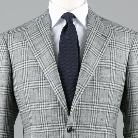 E. THOMAS WOOL/SILK/LINEN SPORT COAT GREY PLAID