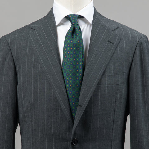 HIGH TWIST WOOL SUIT GREY STRIPE