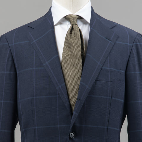 HIGH TWIST WOOL SUIT NAVY WINDOWPANE
