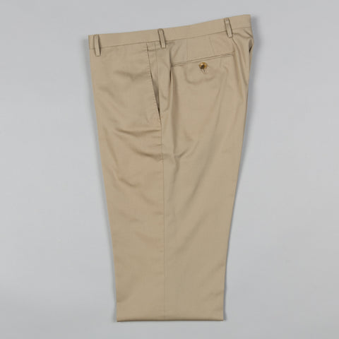 LIGHTWEIGHT COTTON TWILL FLAT FRONT TROUSER DARK KHAKI