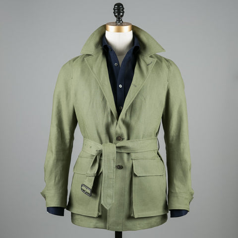 LINEN SAFARI JACKET OLIVE